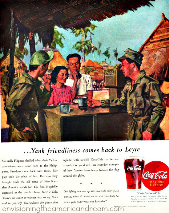 Drinking Coke was synonymous with fighting the enemies of freedom and democracy. Vintage WWII Coca Cola Ad 1945